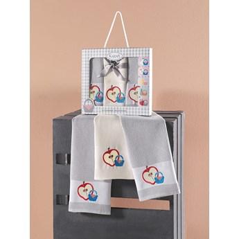 Bilge Ręcznik bawełniany waffle haft PANIER/3496/Grey/ 3x45x65 kpl.