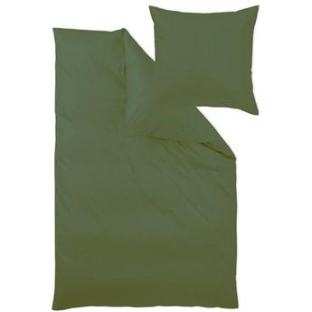 Pościel bawełniana 140x200 cm jednobarwna ciemno zielona, makosatyna, Curt Bauer