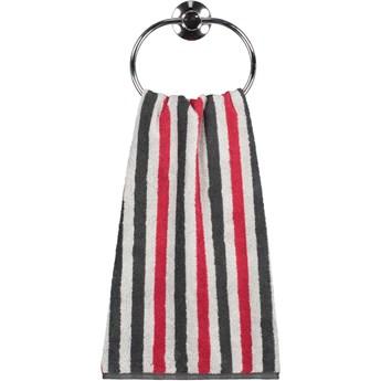 Ręcznik bawełniany 50x100 Tape antracytowo-czerwony, Cawö
