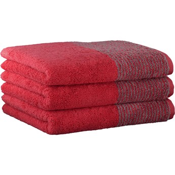 Ręcznik bawełniany 80x150 Two-Tone czerwony, Cawö
