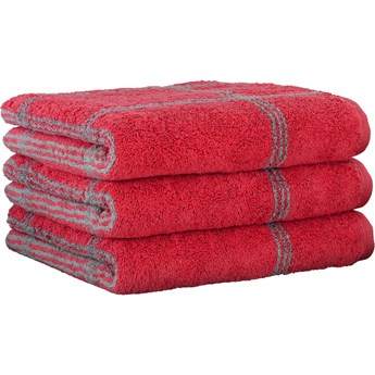 Ręcznik bawełniany 50x100 Two-Tone krata czerwony, Cawö