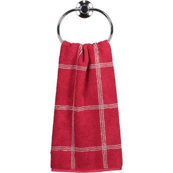 Ręcznik bawełniany 50x100 Two-Tone krata bordowy, Cawö