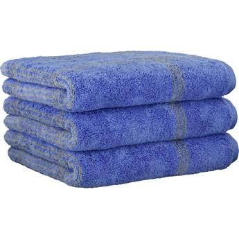 Ręcznik bawełniany 80x150 Two-Tone krata niebieski, Cawö