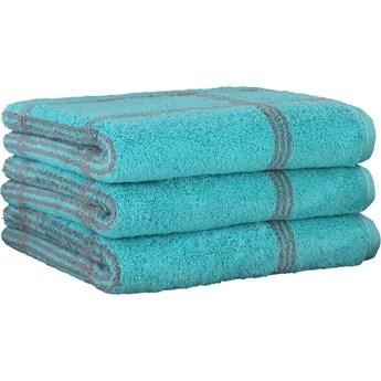 Ręcznik bawełniany 80x150 Two-Tone krata turkusowy, Cawö