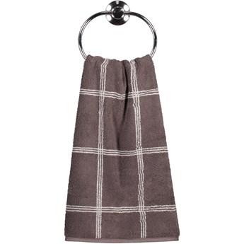 Ręcznik bawełniany 50x100 Two-Tone krata brązowy, Cawö