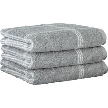 Ręcznik bawełniany 80x150 Two-Tone krata platynowy, Cawö