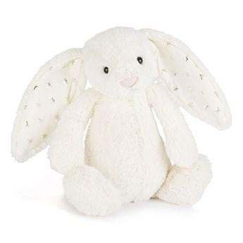 Królik biały z uszami w gwiazdki 18 cm, JellyCat