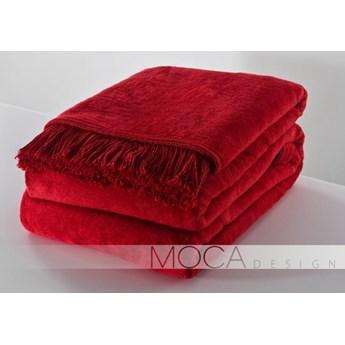 Koc 150x200 kolor czerwony basic - frędzle, Mocadesign