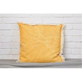 Poszewka Stonewashed żółty 45x45 frędzle