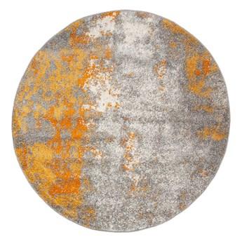Dywan Okrągły Nowoczesny Szary Złoty Spring 60930 100 x 100 cm