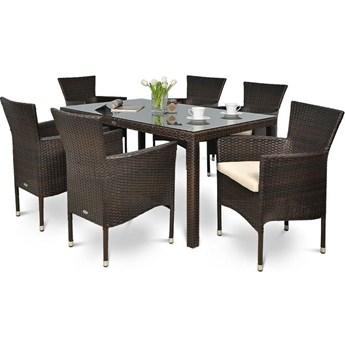 Meblobranie Brązowe fotele i stół technorattanowy do ogrodu San Remo/Venecja 6+1