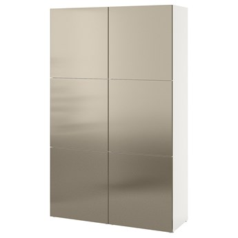 IKEA BESTÅ Kombinacja z drzwiami, Biały/Riksviken imitacja jasny brąz, 120x42x193 cm