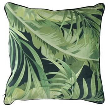 Poduszka kwadratowa tropikalna DUKA EKVATOR 50x50 cm zielona welurowa