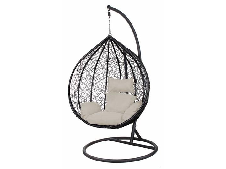Wiszący fotel 120x105x80cm z szarymi poduszkami czarny kokon Technorattan Wiszące Kokony Stal Kategoria Fotele ogrodowe