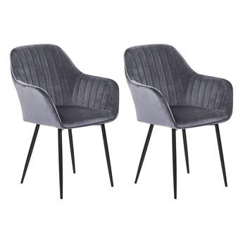 Zestaw 2 krzeseł szarych welurowych z czarnymi metalowymi nogami fotele do jadalni salonu styl retro glamour
