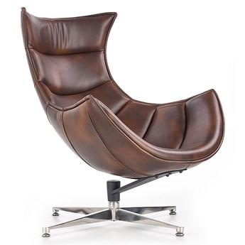 Skórzany obrotowy fotel wypoczynkowy Lavos - brązowy