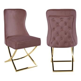 Krzesło Glamour do jadalni Y-2009G Różowy, Welur / Złote nogi