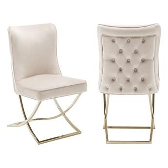 Krzesło Glamour beżowe Y-2009G welur / złote nogi