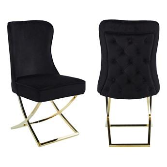Krzesło tapicerowane Glamour Y-2009G czarny welur / złote nogi