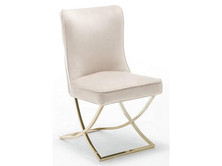 Krzesło tapicerowane Glamour  Y-2009G beżowy welur / złote nogi Pikowane Tworzywo sztuczne Metal Tkanina Pomieszczenie Jadalnia