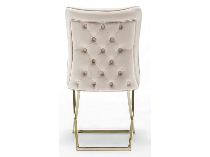 Krzesło tapicerowane Glamour  Y-2009G beżowy welur / złote nogi Pomieszczenie Jadalnia Pikowane Tkanina Tworzywo sztuczne Metal Kategoria Krzesła kuchenne