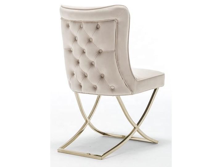 Krzesło tapicerowane Glamour  Y-2009G beżowy welur / złote nogi Tkanina Pikowane Metal Tworzywo sztuczne Pomieszczenie Jadalnia