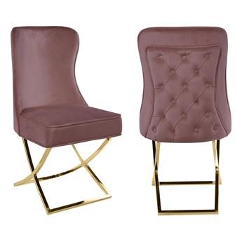 Krzesło tapicerowane Glamour Y-2009G różowy welur / złote nogi