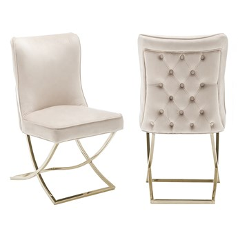 Krzesło tapicerowane Glamour  Y-2009G beżowy welur / złote nogi