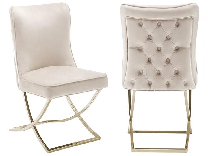 Krzesło tapicerowane Glamour  Y-2009G beżowy welur / złote nogi Pomieszczenie Jadalnia Pikowane Tworzywo sztuczne Tkanina Metal Kategoria Krzesła kuchenne