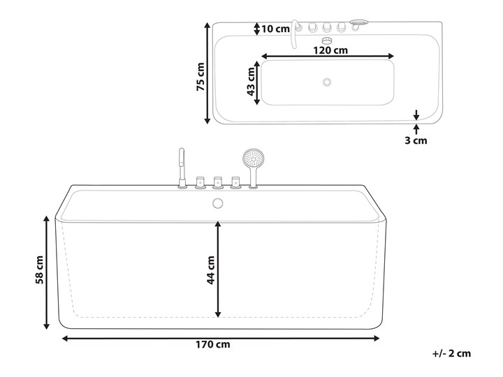 Wanna biała akrylowa 170 x 75 cm przyścienna prostokątna nowoczesny design Kolor Biały Symetryczne Kategoria Wanny