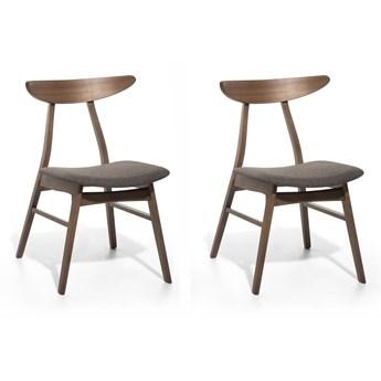 Zestaw 2 drewnianych krzeseł z szarym tapicerowanym siedziskiem do jadalni styl retro rustykalny
