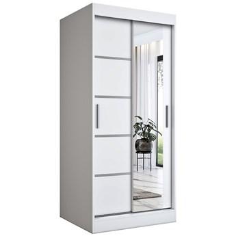 Biała szafa przesuwna z lustrem - Lorenza 2X