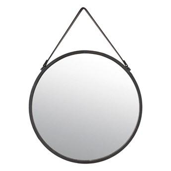 Lustro okrągłe Barbier na pasku czarne śr. 65 cm Inspire