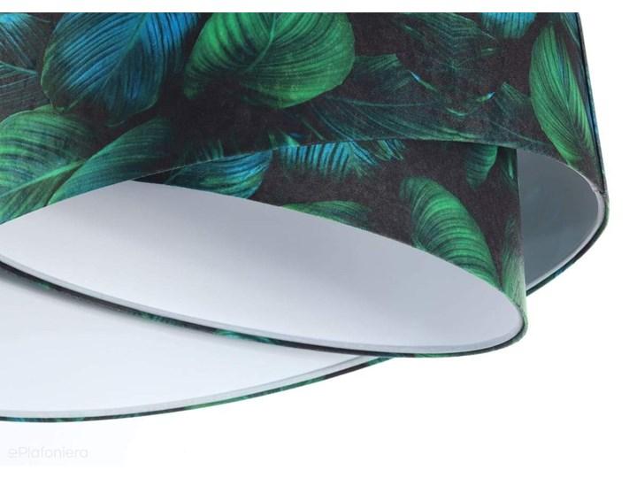 Abażur Jungle - zielona lampa wisząca welurowa, do salonu, sypialni (asymetria - liście 1xE27) ręcznie robiona, Jungle / Biały Tkanina Lampa z abażurem Tworzywo sztuczne Metal Styl Klasyczny