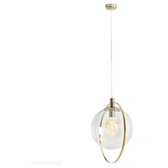Lampa wisząca pojedyncza - kula przezroczysta, (ramka złota) 1xE27, Aldex (Aura) 1065G30