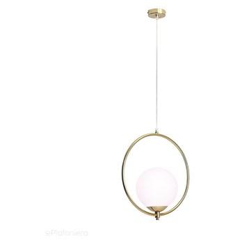 Mleczna kula - ring, złota lampa wisząca do salonu (1xE27) Aldex (Sol) 1075G30