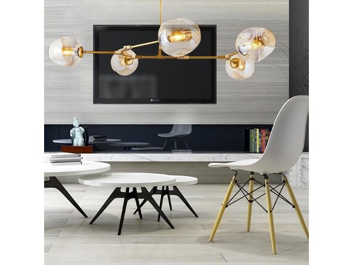 Szklana lampa wisząca - pozioma, 5 kloszy Ozcan, 4023-5Y złoty Pomieszczenie Jadalnia Szkło Lampa z kloszem Metal Funkcje Brak dodatkowych funkcji
