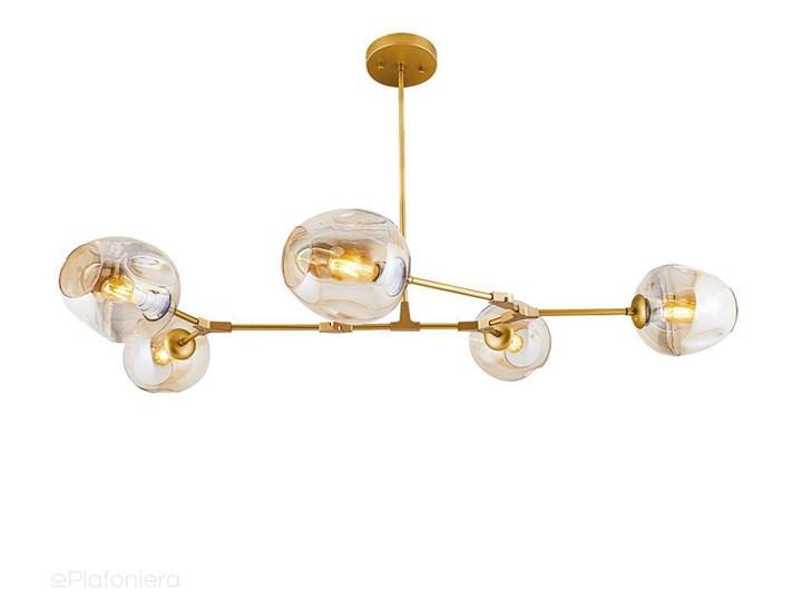 Szklana lampa wisząca - pozioma, 5 kloszy Ozcan, 4023-5Y złoty Metal Szkło Lampa z kloszem Styl Nowoczesny