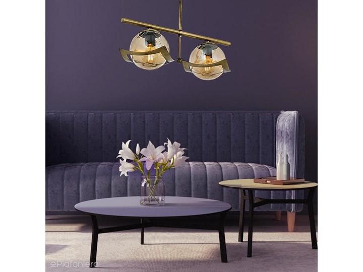 Podwójna lampa wisząca - patynowy żyrandol 2xE27, Avonni AV-4117-2EY Metal Szkło Lampa z kloszem Funkcje Brak dodatkowych funkcji Pomieszczenie Przedpokój