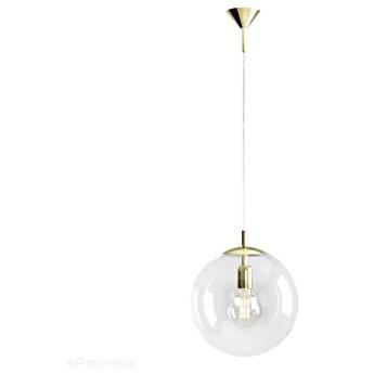 Szklana lampa wisząca, pojedyncza przezroczysta kula 1xE27 (złote zawiesie) Aldex (Globus) 562G10