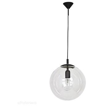 Szklana lampa wisząca, pojedyncza przezroczysta kula 1xE27, (czarne zawiesie) Aldex (Globus) 562G5