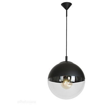 Szklana lampa wisząca, pojedyncza przezroczysta kula 1xE27 (czarna góra) Aldex (Globus) 562G8