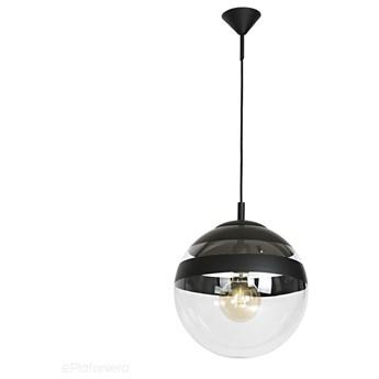 Szklana lampa wisząca, pojedyncza przezroczysta kula 1xE27 (czarna góra - pasy) Aldex (Globus) 562G9