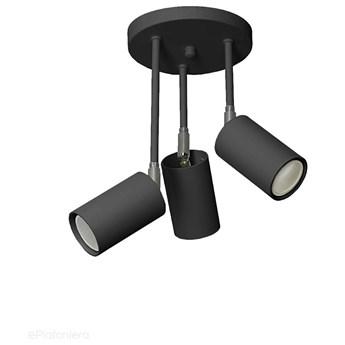 Czarna lampa sufitowa na kole regulowana 30cm, plafon SPOT (3x GU10) Lampex (Rolos) 655/3B CZA