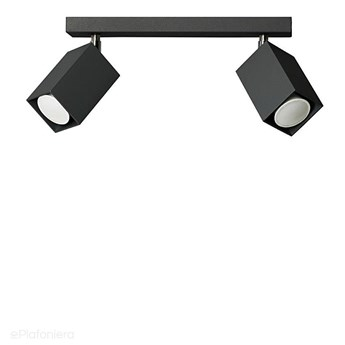 Czarna lampa na listwie - 2x reflektor, regulowana SPOT (2x GU10) Lampex (Nero) 718/2 CZA