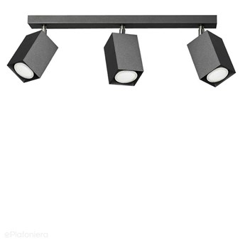 Czarna lampa na listwie - 3x reflektor, regulowana SPOT (3x GU10) Lampex (Nero) 718/3 CZA