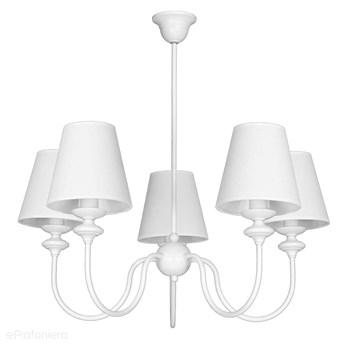 Żyrandol klasyczny małe białe abażury, lampa wisząca, 5xE14, Aldex (Rafaello) 932F