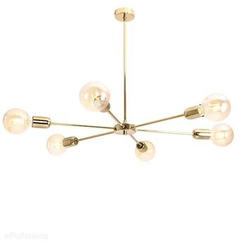 Złota nowoczesna lampa - żyrandol do salonu, sypialni (wisząca 6xE27) Aldex (after) 952K30