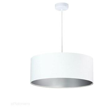 Welurowy abażur Lilia - biała lampa wisząca do salonu, sypialni (kolekcja - Standard, 1xE27) ręcznie robiona, Biały / Srebrny / 50cm