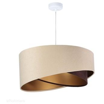 Abażur Tia - beżowa lampa wisząca welurowa, do salonu, sypialni (asymetria 1xE27) ręcznie robiona, Beżowy / Brązowy / Złoty / Biała podsufitka